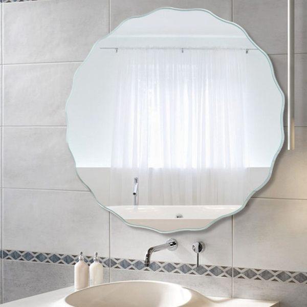 浴室鏡子免釘壁掛粘貼無框衛浴鏡防水洗手間衛生間橢圓形化妝鏡子