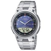 【CASIO】10年電力商務型男不鏽鋼雙顯錶-藍面(AW-80D-2A)