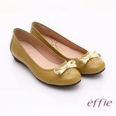 effie 俏麗悠活 全真皮織帶蝴蝶結飾平底鞋 淺黃