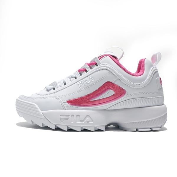 FILA 版型偏小 休閒鞋 DISRUPTOR 2A 白粉 皮革 刺繡 復古 老爹鞋 女 (布魯克林) 4C113V112