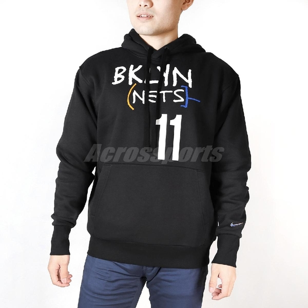 Nike 長袖T恤 Nike BKLYN Nets City Edition NBA Hoodie 黑 白 男款 帽T 連帽 Kyrie Irving 【ACS】 DC0861-011
