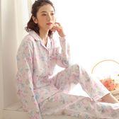睡衣-長袖唯美小花清新優雅棉質女居家服套裝2色73ol21【時尚巴黎】