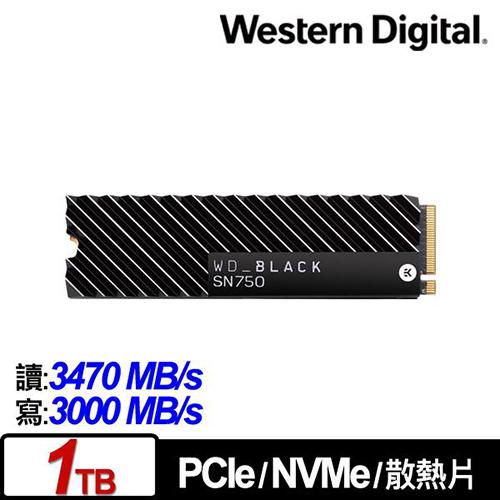 WD 黑標 BLACK SN750 1TB 3D NAND M.2 PCI-E SSD 固態硬碟 (配備EKWB散熱片) WDS100T3XHC