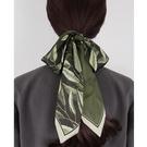 小眾春夏季墨綠絲巾小長條女領帶發帶西裝領巾綁包腰帶 黛尼時尚精品