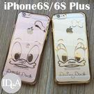 迪士尼 iPhone6S Plus 唐老鴨黛絲情侶電鍍燙金滾邊透明TPU手機保護套 清水矽膠軟殼 奢華風格 Apple i6