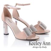 ★2019春夏★Keeley Ann氣質名媛 立體水鑽蝴蝶結粗跟鞋(裸色)-Ann系列
