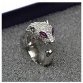 戒指 高品質925純銀微鑲男女情侶豹子頭戒指 鑲鉆滿鉆logo豹頭指環 星河光年