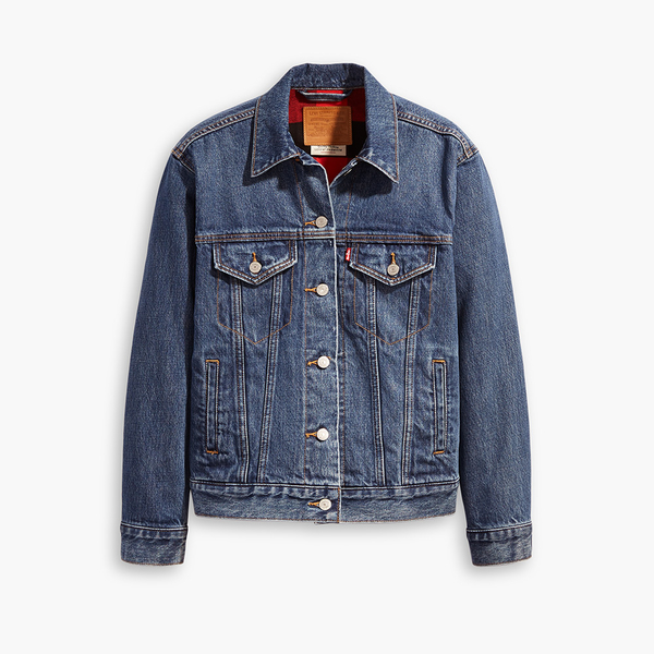 Levis 女款 牛仔外套 / Boyfriend 寬鬆版型 / 格紋法藍絨內裏