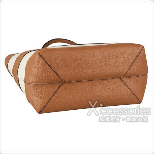 MK MICHAEL KORS STRIPE CANVAS經典金字LOGO皮革帆布磁釦子母包(大/橡子/米)