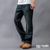 BIG TRAIN 繡花貼標限量垮褲-男-中藍