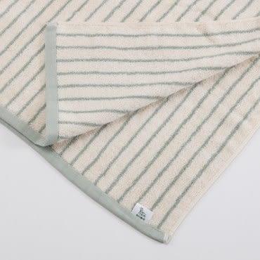 有機棉簡約條紋浴巾-忘幽藍