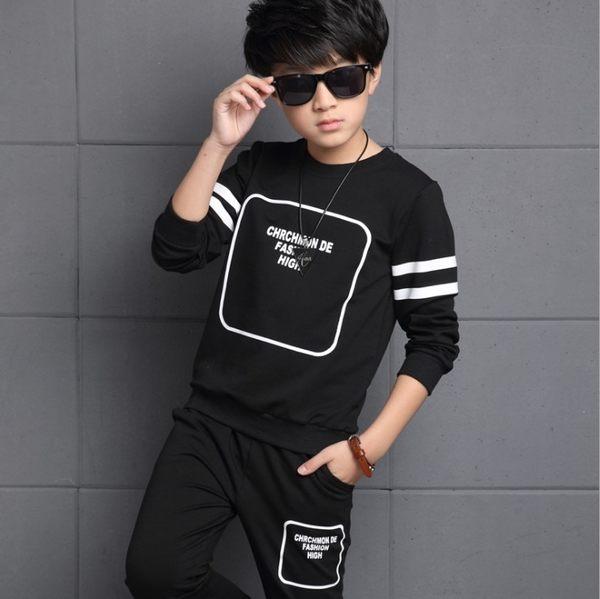 衣童趣♥韓版 中大男童 時尚圓領長袖T+帥氣口袋長褲 休閒百搭款運動套裝