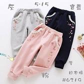 童裝 台灣現貨 繡花刷毛冬季厚款長褲,3色可選【99803】