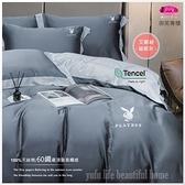 PLAY BOY-艾歐斯【銀灰】雙色搭配/100%天絲棉/300織/四件套『兩用被套+床包』5*6.2尺