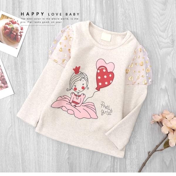 純棉 公主袖女孩愛心氣球插畫上衣 金色 愛心 杏色 韓系 塗鴉 女童裝 女童上衣 冬天 厚長袖