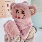小熊帽子女秋冬季百搭連帽圍巾手套一體騎車保暖護耳朵可愛毛絨帽