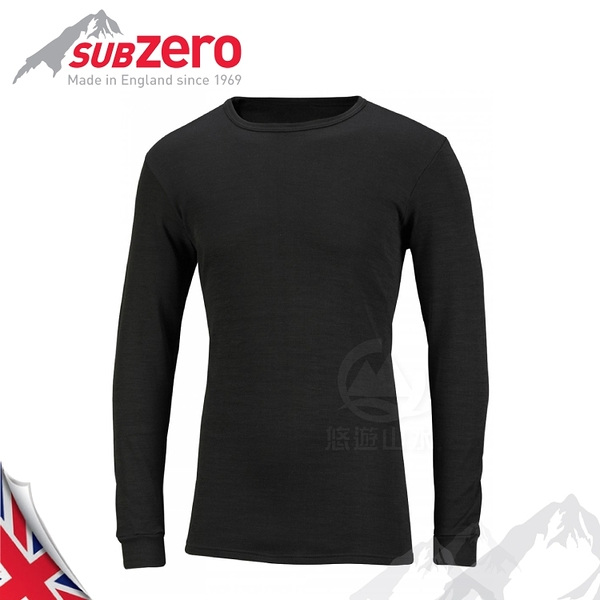 【Sub Zero 英國 MERAKLON+ 長袖內層衣《黑》】MERAKLON/保暖衣/薄長袖/防曬