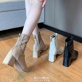 馬丁靴女英倫風新款春秋季單靴方頭粗跟瘦瘦高跟鞋短靴子 快速出貨