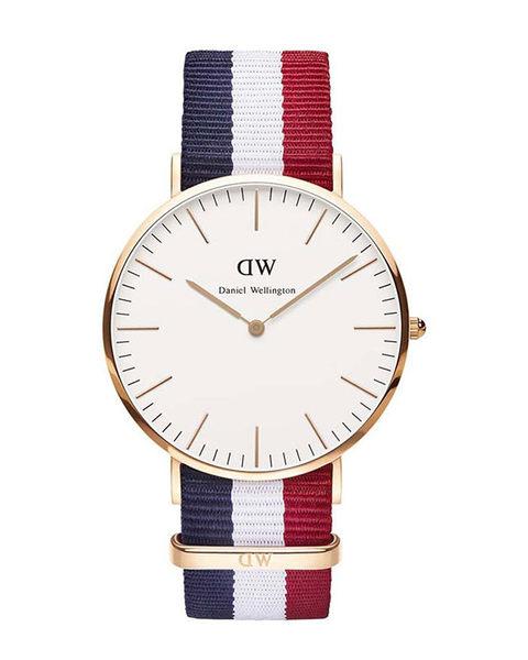Daniel Wellington (DW) 經典藍白紅帆布錶帶(手錶 男錶 女錶 對錶)-原廠公司貨-保固兩年
