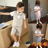 4件套 兒童小西裝套裝花童禮服男童短袖西服寶寶夏季【淘嘟嘟】