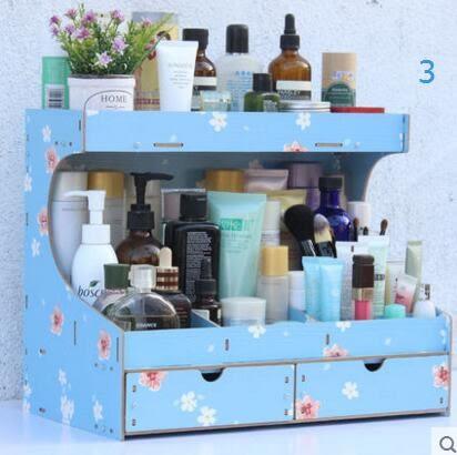 藍格子 化妝品收納盒 桌面收納盒 木製抽屜式梳妝台化妝盒 置物架