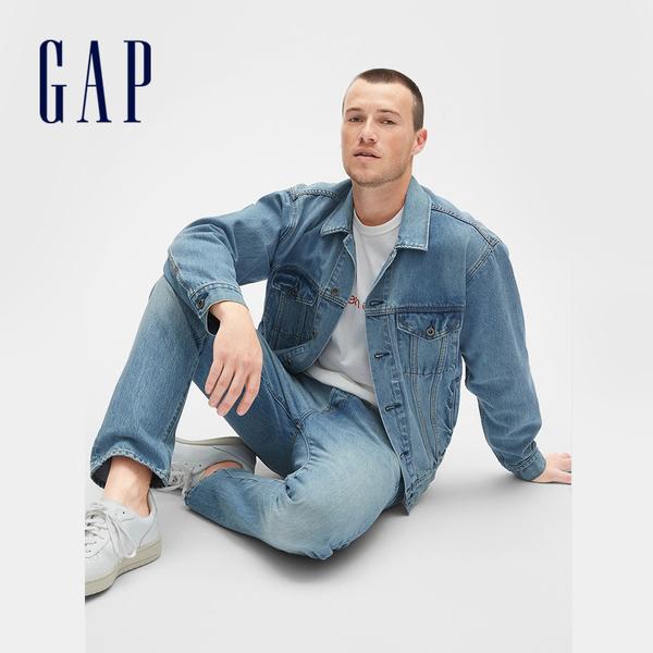 Gap男裝 1969系列休閒翻領淺色水洗牛仔夾克外套 501341-靛藍色