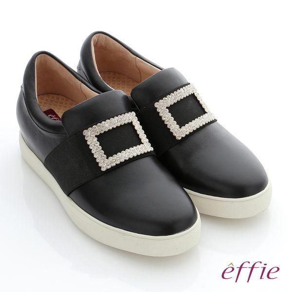 effie 彈力舒芙 真皮方形水鑽奈米機能休閒鞋 黑