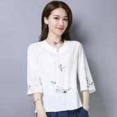 民族風刺繡花棉麻女裝夏季新款七分袖T恤女寬鬆修身短袖上衣 格蘭小鋪