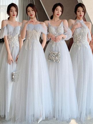 伴娘服2021新款姐妹服伴娘團高級感宴會小晚禮服公主裙洋裝顯瘦女春秋婚禮聚會表演約會可穿
