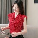 韓版波點雪紡衫夏季新款寬松遮肚子顯瘦飄帶荷葉邊上衣N175-E.1號公館