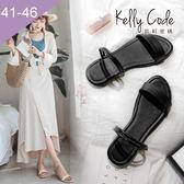 大尺碼女鞋-凱莉密碼-時尚細帶多用途兩穿真皮平底涼鞋2cm(41-46)【YG4057】黑色