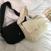 帆布包女韓國ins新款百搭純色半圓簡約單肩斜背帆布包  【熱賣新品】