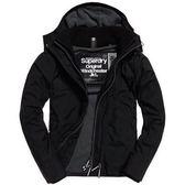 【蟹老闆】SUPERDRY 經典款 灰色內裡 黑色 防風外套 防潑水機能性風衣外套 有帽黑標 男款
