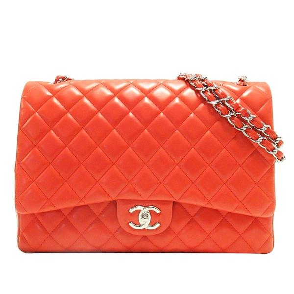 CHANEL 香奈兒 紅色菱格紋羊皮銀釦雙蓋肩背包 Maxi Classic Flap Bag【BRAND OFF】