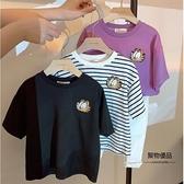加菲貓短袖T恤圓領寬鬆兒童女寶寶打底衫上衣女童【聚物優品】