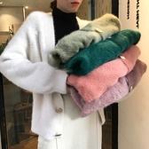 毛衣外套 2020新款秋冬寬松大碼針織開衫慵懶風仿水貂絨百搭網紅毛衣外套女 風馳