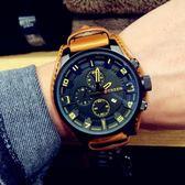 大錶盤潮男皮帶手錶男學生時尚潮流休閒防水時裝錶