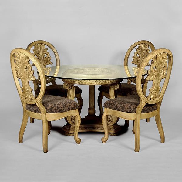 【HYI家居生活館】2000系列-古典雕花鏤空餐桌餐椅組(圓桌組)