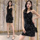 洋裝韓系年秋法式絲絨V領修身外穿打底吊帶裙星空亮片連身裙小禮服GT527-A依佳衣
