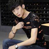 短袖T恤簡約時尚潮流純棉印花男士短袖韓版修身t恤《印象精品》t800