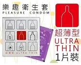 樂趣衛生套-超薄型 1片裝 保險套/衛生套 (超薄/平面/體驗包)【套套先生】