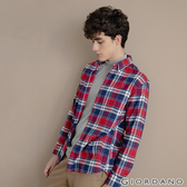 【GIORDANO】男裝法蘭絨溫暖磨毛長袖襯衫-25 寶藍/紅/白格紋