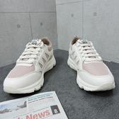 X-INGCHI 女款粉底白色魚骨休閒鞋-NO.X0115