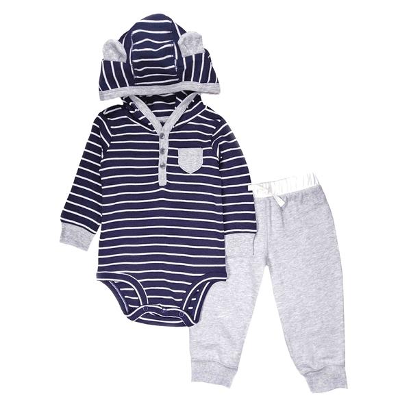 男寶寶套裝二件組 長袖連帽包屁衣+長褲 深藍條紋 | Carter s卡特童裝 (嬰幼兒/小孩/baby)