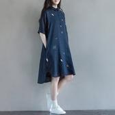 初心 五分袖襯衫洋裝 【D7213】 童趣 印花 文藝 襯衫 長版洋裝 連身裙 襯衫領 魅力女孩