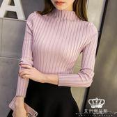 針織衫 秋冬韓版短款半高領女長袖套頭加厚修身毛衣