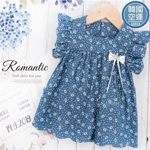 韓國童裝~滿版小花荷葉袖傘狀上衣(270593)★水娃娃時尚童裝★