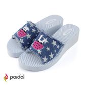 Paidal 星星單寧墨鏡兔吃西瓜厚底一片式美型涼拖鞋