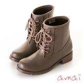 amai  SGS認證-挺版修飾軍靴造型雨靴 卡其