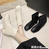 黑色切爾西短靴女馬丁靴英倫風方頭粗跟高跟鞋瘦瘦靴子春秋單靴冬 蘇菲小店